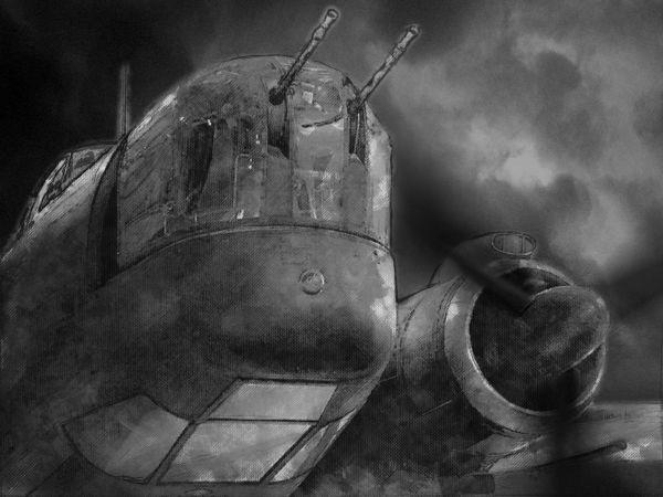 Liberator - čelní podhled, otočná věž, skleník bombometčíka, běžící levý motor.